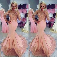 Peach Prom Dresses sirena eleganti con Capped maniche lunghe in pizzo Appliques perline vedere attraverso Neck abito da sera Abiti formali