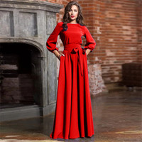 2019 herbst frauen casual bogen maxi schärpen dress damen laterne hülse o neck elegante party dress solide mode frauen lange kleider nz19.9-111