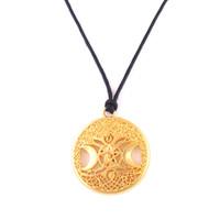 ZH9 Тройная Луна Богиня Викка Пентаграмма Магический Амулет Ожерелье Женщины дерево жизни луна подвески пшеница звено цепи / змея веревка цепи ожерелья