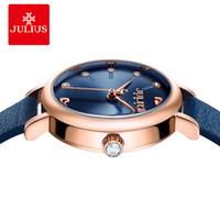 2020 Julius Women's Watch for Small Muñamas de la muñeca Top Calidad Lujo Relojes de pulsera azul de lujo Movimiento de Japón Reloj de cuero impermeable JA-1077