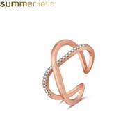 Anéis de noivado de zircão para as mulheres feitos à mão minúsculo subiu de prata de ouro crossover anel grande letra x para as mulheres senhora festa de casamento jóias