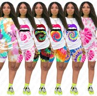 Women Two Piece Outfits Tie Dye Printed Sports Casual Pants ...