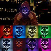 할로윈 마스크 LED 글로우 마스크 3 모드 El 와이어 라이트 퍼지 영화 의상 무서운 코스프레 파티 마스크 ZZA1251 60pcs
