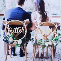 Silla de boda Carteles de madera Accesorios de fotos Rústico De madera Cree juntos Silla Colgante Decoración