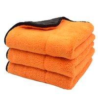 1PCS أصفر برتقالي 45cmx38cm 800GSM سوبر سميكة أفخم سيارة ستوكات تنظيف الملابس العناية بالسيارات مجهرية شمع تلميع تفصيل المناشف لينة