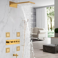Thermostatic Gold Shower Complete Set Multiple Function Rain...