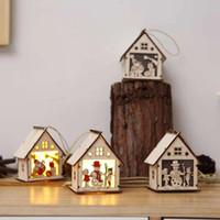 Чисто ручной работы рождественские украшения для дома светодиодные деревянные куклы дом на дереве кулон рождественские украшения дерево Санта-Клаус Новый год