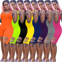 Femmes Jumpseau Rompers Sexy Hole Pantalons Sans manches Body Body Zipper Shorts Elegant Plissant Women Oneiesies