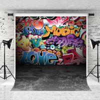 Dream 5x7ft Colorful Graffiti Backdrop da parete Hiphop Street Art Sfondo per Bambino Ritratto foto grigio Pavimento Fondello Showdrop Studio Prop