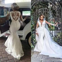 2020 Sexy Mermaid Wedding Dresses with Detachable Train Luxury Lace Applique Beaded Long Sleeve Plus Size Wedding Gown