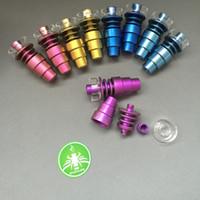 Titanium Prego Rainbow colorido dabber ferramenta Com Quartzo Prato 10mm 14mm18mm Masculino Feminino 6 em 1 dome-less GR2 Titanium Nails para tubulação de água