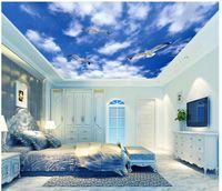 사용자 정의 대형 3D 사진 벽지 3d 천장 벽화 벽지 아름다운 푸른 하늘 푸른 하늘 흰색 갈매기 천정 천장 벽화 벽 스티커