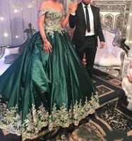 2019 Emerald Green Prom Dresses Off The Shoulder Ballkleid mit Applikationen Spitze Perlen Party Wear Abendkleid für süße 16