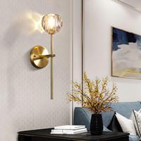 مصابيح Modren الذهب اللون البرونزي جدار مزدوج الكرة الزجاجية الرجعية دور علوي الجدار الشمعدانات غرفة نوم غرفة المعيشة المدخل مصابيح