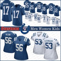 17 Philip Rivers Indianapolis Custom Men Women Kids Colt Football jerseys 53 Darius Leonard 56 Quenton Nelson 13 Hilton 7 Brissett 25 Mack