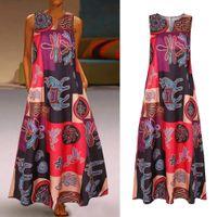 Februestfrost 2020 النساء خمر البوهيمي العرقية طباعة الخامس الرقبة المدرج اللباس عارضة أكمام فستان ماكسي الشارع الشهير زائد الحجم