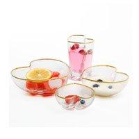 Coeur en forme de bol en verre avec de l'or Rim haut de gamme japonais Marteau texturé Verrerie Tumbler pour salade de fruits Dessert Ultra Clear Corail