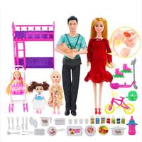 6 Человек Семья Кукла Костюмы Мама / Папа / Сын Ребенок / Келли / Коляска Девушки Игрушки Мода Беременная Кукла Детские Игрушки Подарок На День Рождения Кукла