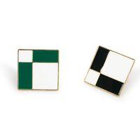 المجوهرات مربع أقراط الترتان مربع أبيض وأسود أقراط للنساء الأزياء الساخن