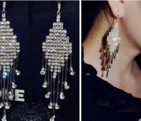 الفضة الذهب مطلي الزفاف كريستال قطرة أقراط 10 سنتيمتر لامعة النساء الفتيات مجوهرات حجر الراين الثريا شرابة أقراط الزفاف اكسسوارات