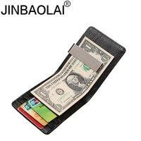 Jinbaolai Men argent clip Wallet Slim Véritable Portefeuille Homme en cuir avec carte cas sac d'argent d'embrayage en cuir de vache bourse d'hommes Wt82