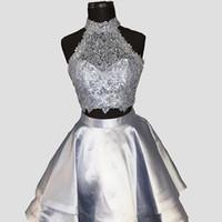 Mütevazı Pembe Gri Mavi Donanma A-Line İki Parçalı Balo Elbise Halter Prenses Mezuniyet Elbiseleri Mini Kısa Gelinlik Modelleri Kokteyl Parti Elbiseler