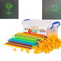 100 Espacio 4D paja Asamblea Costura niños palillo fluorescente crecer en la oscuridad Construir bloques creativos kits de edificio modelo niños de juguete