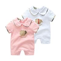 INS New Baby garçons fille lettre de vêtements B Romper coton du nouveau-né Bodysuit équipez d'été à manches courtes Romper poussin enfants Tenues infantile