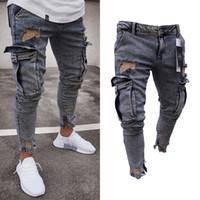 Calças Lápis Comprido Jeans Rasgados Magro Primavera Buraco 2018 Moda masculina Jeans Skinny Fino para Homens Hiphop Calças Roupas Roupas