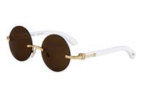 Neue Ankunft Frankreich Marke Sonnenbrille Für Männer Frauen Weiße Büffelhornbrille Randlose Runde Designer Bambusholz Sonnenbrillen mit Kastenkasten
