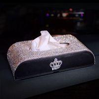 Boîte de tissus de voiture blingbonnant strass élégant girl de Noël cadeaux de Noël marque artisanat de la bracelage de voitures d'intérieur
