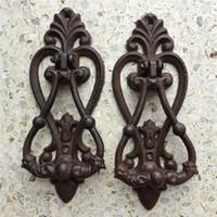 2 piezas Puerta de hierro fundido Lily Vintage Metal Puerta Materia Doorknocker Inicio Tienda Tienda Oficina Puerta Decoraciones Antigua Montaje de pared Retro
