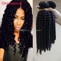 Гламурные спиральные вьющиеся вьющиеся 3 связки Человеческие волосы плетены необработанные бразильские малазийские индийские перуанские девственницы наращивания волос человека большие запасы