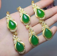 925 silver water droplets green jade form the four seasons peace pendant with free shipping V3