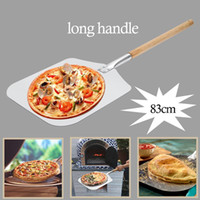 Aluminium Pizza Pelle Peel avec longue poignée en bois Outils pâtisserie Accessoires Pizza Paddle Spatule gâteau de cuisson Cutter