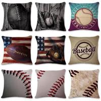 البيسبول وسادة القضية الإبداعية وسادة تغطي خمر العلم وسادة مطبوعة أريكة وسادة غطاء ديكور المنزل LJJ_TA774