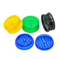 Nouveau prix usine acrylique plastique fumant grinder 60mm 2 pièces de tabac en plastique meuleuses fumant des canalisations d'eau accessoires