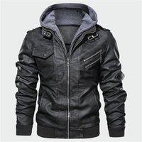 Abrigos para hombre Casual Male caliente chaqueta de la motocicleta de la PU gruesa del invierno del Mens chaquetas con capucha de la cremallera de manga larga