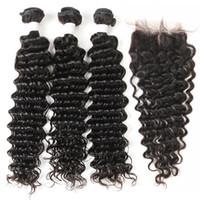 Mongol onda profunda Curly Virgin cabelo humano tece 3 pacotes com Lace Encerramento não transformados Remy extensões do cabelo Natural Color 1B Duplo trama