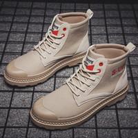 2019 Vintage yüksek üst Martin moda trendi Ayakkabı Erkek kurt tuvaline sonbahar ve kış aylarında yeni erkek botları Pop
