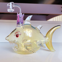 Glass Bong Fish Shape With 14. 4mm Male Joint Handmade Bubble...