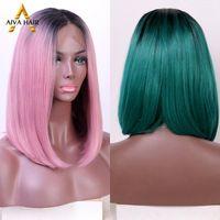 Синтетические парики AIVA COLOR OMBER Green WIG Бесплодные кружевные Фронтальная длительная красота Боб для черных женщин
