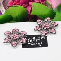 Fleur rose strass embellissement utilisé sur invitation de mariage décoration bouton bouton dos plat 30MM 20PCS / Lot Antique Silver KD555
