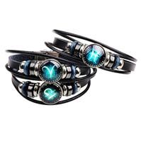 12 braccialetto delle costellazioni per il fascino punk del braccialetto dei segni dello zodiaco di personalità casuale degli uomini del braccialetto dei monili di modo delle donne Trasporto libero