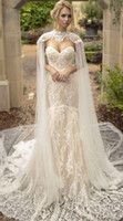 Ivory Long Bridal Wraps Shawls High Neck Lace Wedding Cloaks...