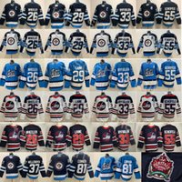Winnipeg Jets 29 Patrik Laine Jersey 26 블레이크 휠러 55 Dustin Byfuglien Mark Scheifele 81 Kyle Connor Hellebuyck 37 하키 화이트 블루