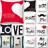 Hot Sale Modern Simple MRS &MR Couples Cushion Cover Sweet L...