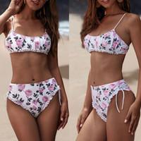 Frauen Sexy Badebekleidung Bikinis Set Neue Falten Blumendruck Lace-up Sommer Strand Zweiteilige Badeanzüge Schwimmen Badeanzug Schwimmen Beachwear