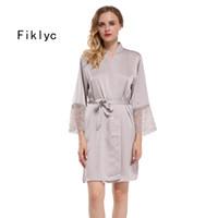 Fiklyc marque femmes robes de demoiselles de mariage kimono de mariage peignoirs de dentelle satin M L XL XXL grande taille femme sexy lingerie de nuit nuisettes Y19042803