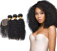 폐쇄가있는 Viya 브라질 변태 곱슬 인간의 머리카락 번들 무료 / 중간 / 3 부분 컬러 송료 무료